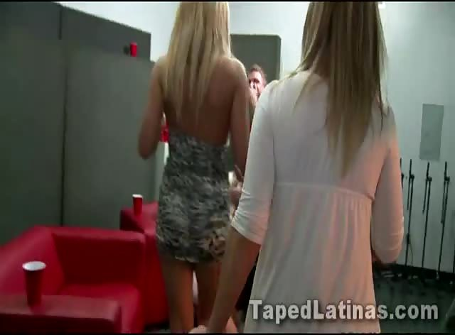 Four sexy blondes share two lucky cocks in a recording studio