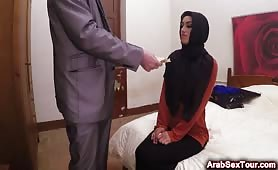 Breathtaking Arab natural beauty hesitant at first to accept money for sex