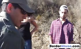 Petite brunette babe getting fucked hard by an border agent with a big cock