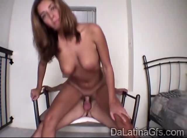 Beautiful Latin juggy enjoys a hard prick with her little cunt