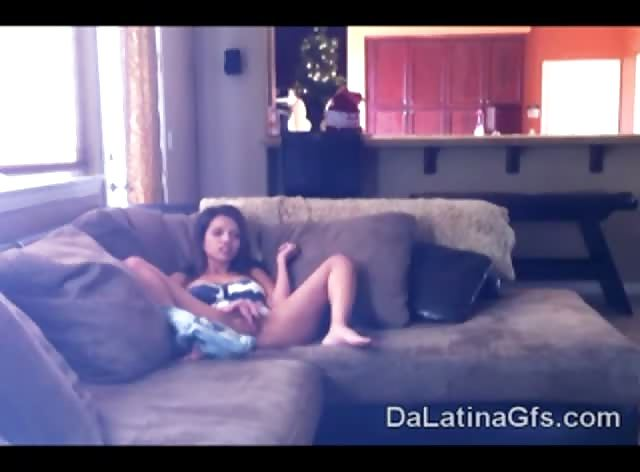 beautiful Latina teen got caught masturbating by spy cam
